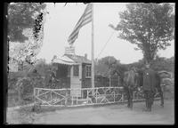 Bronx police booth, officers, and horse, the Bronx, New York City, undated (ca. 1890-1910).
