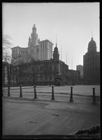City Hall, with the Municipal Building and the New York World Building in the background, New York City, 1913.