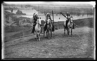 Three unidentified Native American men on horseback in Buffalo Bill's Wild West Show, Brooklyn, New York City, undated (ca. 1894-1896).