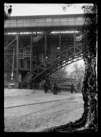 Elevated subway station at W. 125th Street and Broadway, New York City, undated (ca. 1904-1910). Emulsion damage.